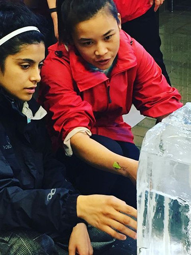 Working together on an ice sculpture