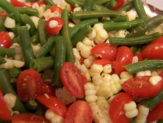 Summer salad of fresh corn, green beans, tomatoes and basil