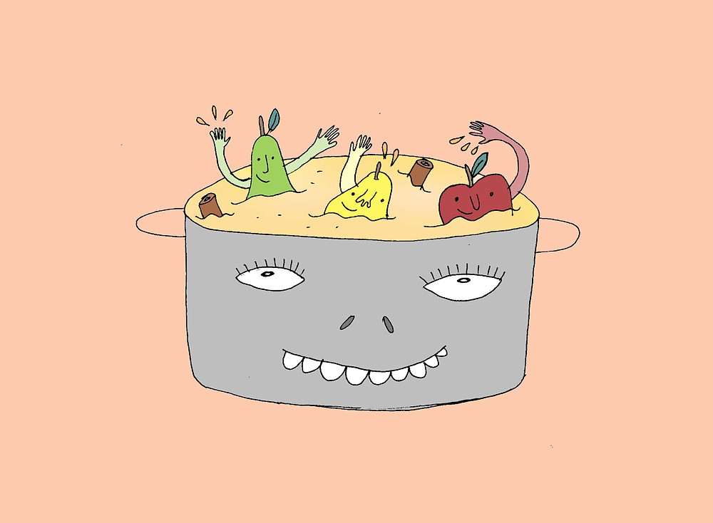 Whimsical fruit stewing in a pot, Lila Volkas