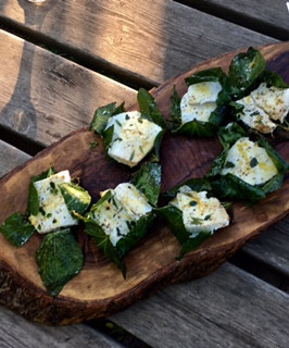 herbed ricotta baked in fig leaves
