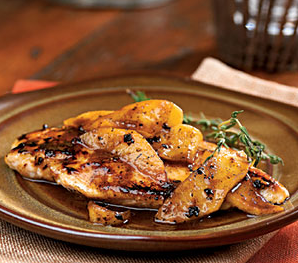 Apricot-glazed chicken with apples