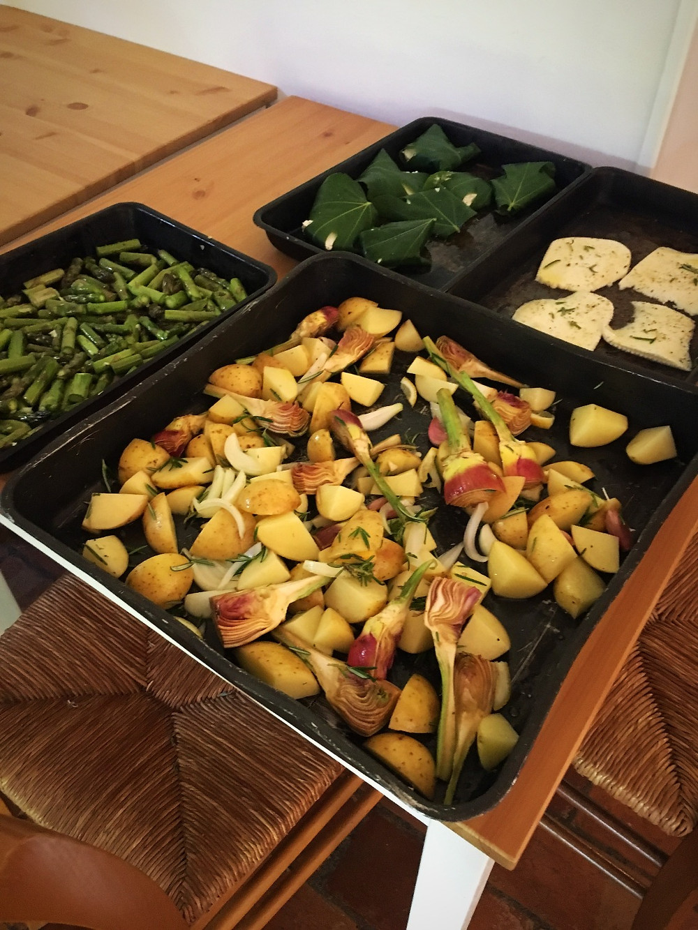 Asparagus and new potatoes prepped for recipe
