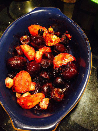 Baked figs, beets and sweet potatoes