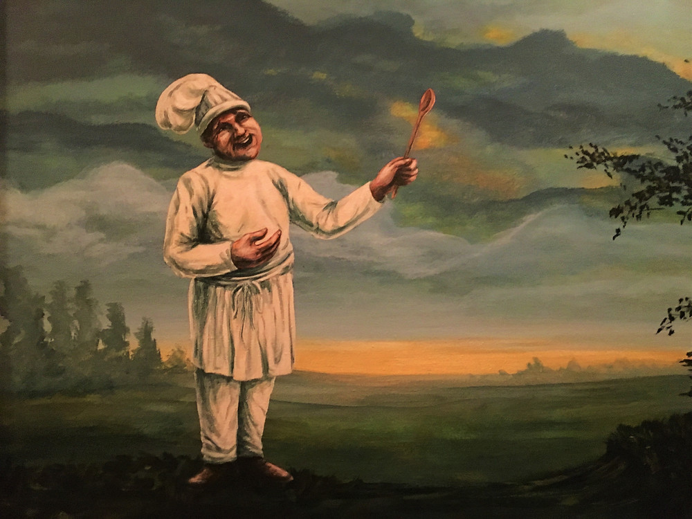 Artwork, a chef with a wooden spoon