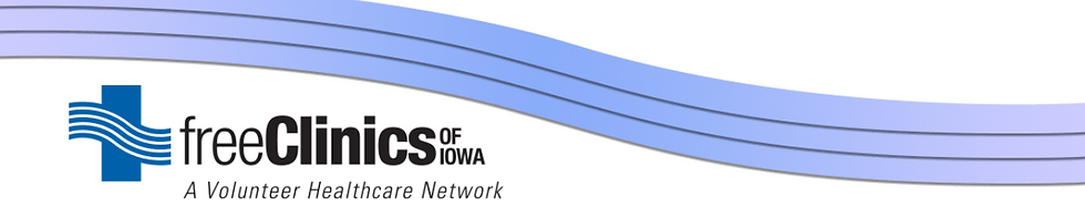 Free Clinics of Iowa logo with purple wave