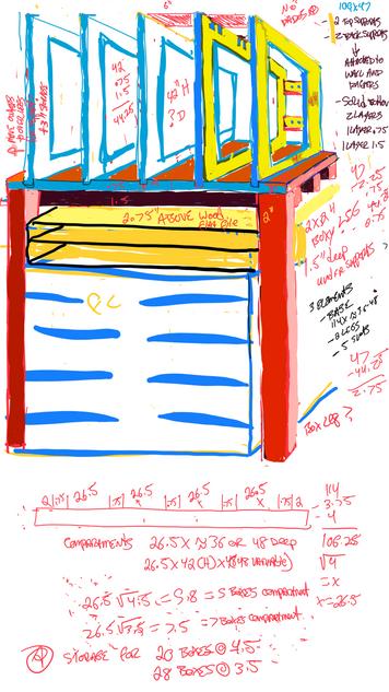Storage unit design for above a flat file