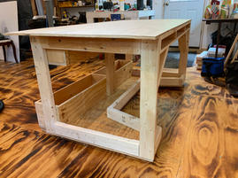 Work table made from recycled lumber