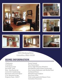 For Sale House Flyer - Back