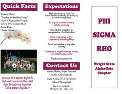 Brochure for Phi Sigma Rho Sorority