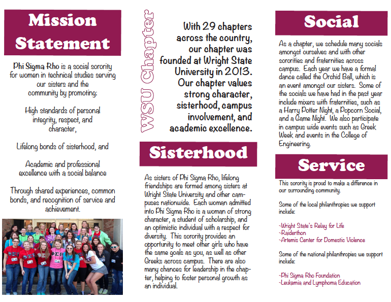 Brochure for Phi Sigma Rho Sorority