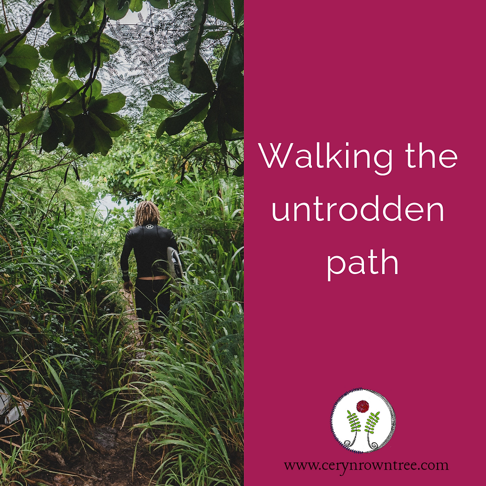 """A square image divided in half vertically. The left side is brought pink, with the logo and web address for Ceryn Rowntree, www.cerynrowntree.com. White text above reads """"walking the untrodden path. The right side of the image features a photograph courtesy of Unsplash, which shows a person carrying a surfboard through long grasses towards the shore."""