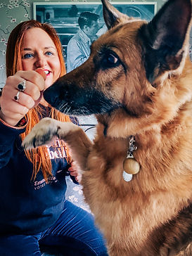 A photograph of Kali Rowntree, a black and tan German Shepherd, raising a paw and looking excitedly at the outstretched hand of Ceryn Rowntree. Ceryn is a white woman with red hair who kneels behind Kali wearing a blue sweatshirt and jeans. Photo is by Becky Wright Photography