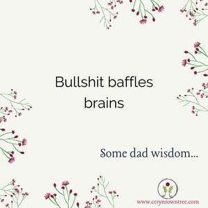 """A cream square surrounded by green and pink flowers and the logo and web address for www.cerynrowntree.com. In the centre is the text: """"Bullshit baffles brains. Some dad wisdom..."""""""