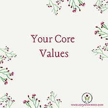 """A cream square with flowers and text which reads """"your core values"""" from Ceryn Rowntree."""