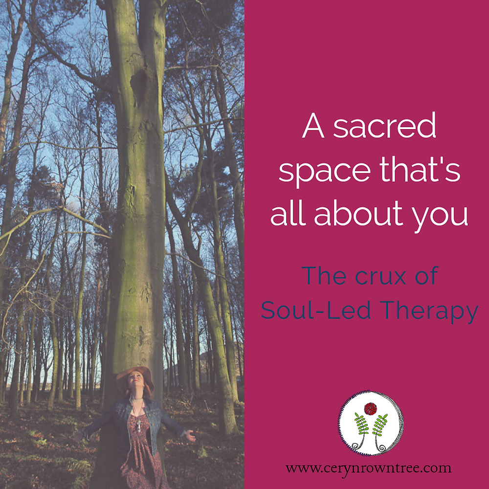 """A square image divided in two vertically. To the left is a photograph of Ceryn Rowntree leaning against a tall tree with her arms outstretched (photo by Laura Pearman). To the right a bright pink block featuring the words """"a sacred space that's all about you"""" in white, followed by """"the crux of Soul-Led Therapy"""" in blue and the logo and web address for www.cerynrowntree.com"""