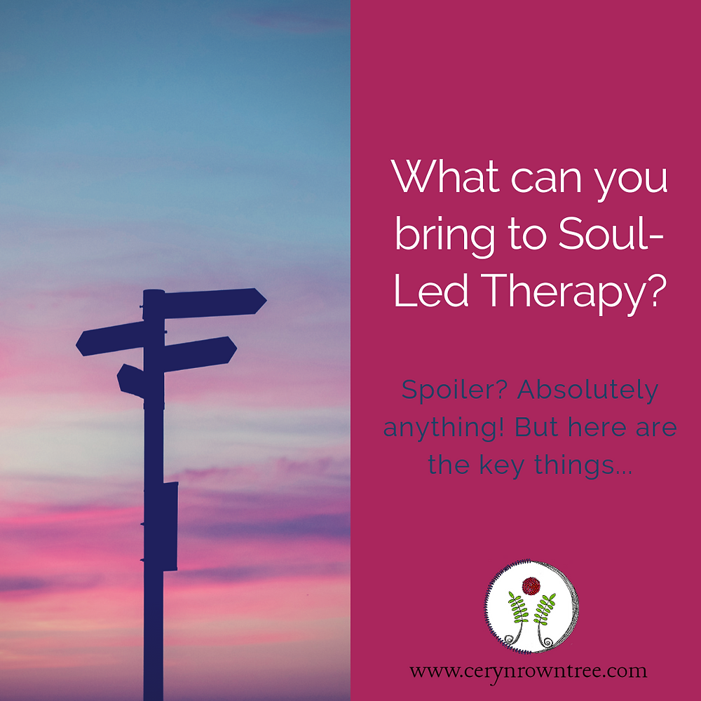 """A square image divided in half vertically. To the left is a photograph of a signpost silhouetted against a pink and blue sky. To the right is a bright pink box containing the words """"What can you bring to Soul-Led Therapy?"""" in white, followed by """"Spoiler? Absolutely anything! But here are the key things..."""" in blue and the logo and web address for www.cerynrowntree.com"""