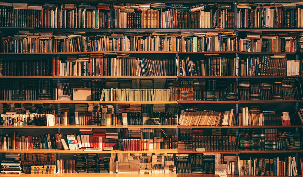 A photograph of books on a tall, wide bookshelf. Photograph by Alfons Morales on Unsplash