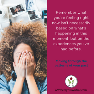 """A square image, split in half vertically. To the right, an image of a woman's head against a white background. The woman's hands are over her face and behind her head is a white camera and a number of photographs. Photo is courtesy of Ian Dooley on Unsplash. To the right is a bright pink box, featuring the words """"remember what you're feeling right now isn't necessarily based on what's happening in this moment, but on the experiences you've had before."""" in white, followed by """"moving through the patterns of your past"""" in blue, and the website and logo of www.cerynrowntree.com."""