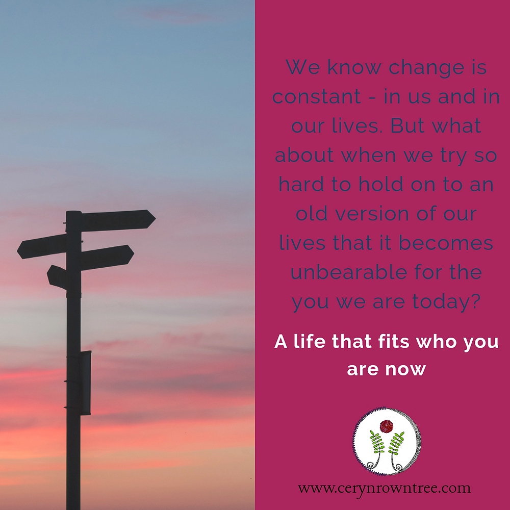 "A square image divided in half vertically. To the left is an image of a signpost shadowed against a multi-coloured sunset sky. Photo by Javier Allegue Barros on Unsplash. To the right is a bright pink box including the words ""we know change is constant - in us and in our lives. But what about when we try so hard to hold on to an old version of our lives that it becomes unbearable for who you are today? A life that fits who you are now"" along with the logo and web address for cerynrowntree.com."