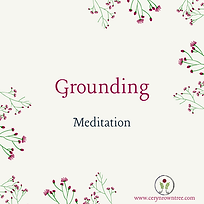 "A cream square with flowers and text which reads ""grounding meditation"" from Ceryn Rowntree."