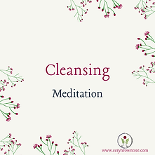 """A cream square with flowers and text which reads """"cleansing meditation"""" from Ceryn Rowntree."""