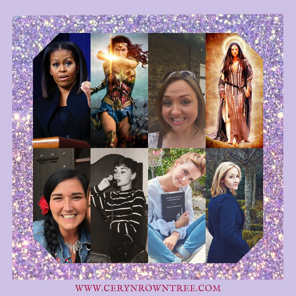 Ceryn Rowntree Circle of Seven empowering and inspiring women: Michelle Obama, Wonder Woman, Mary Magdalene, Lisa Lister, Audrey Hepburn, Emma Watson, JK Rowling