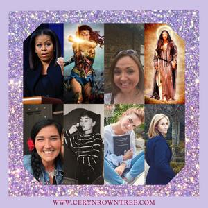 Ceryn Rowntree Circle of Seven empowering and inspiring women: Michelle Obama, Wonder Woman, Mary Magdalene, Lisa Lister, Audrey Hepburn, Emma Watson, JK Rowling