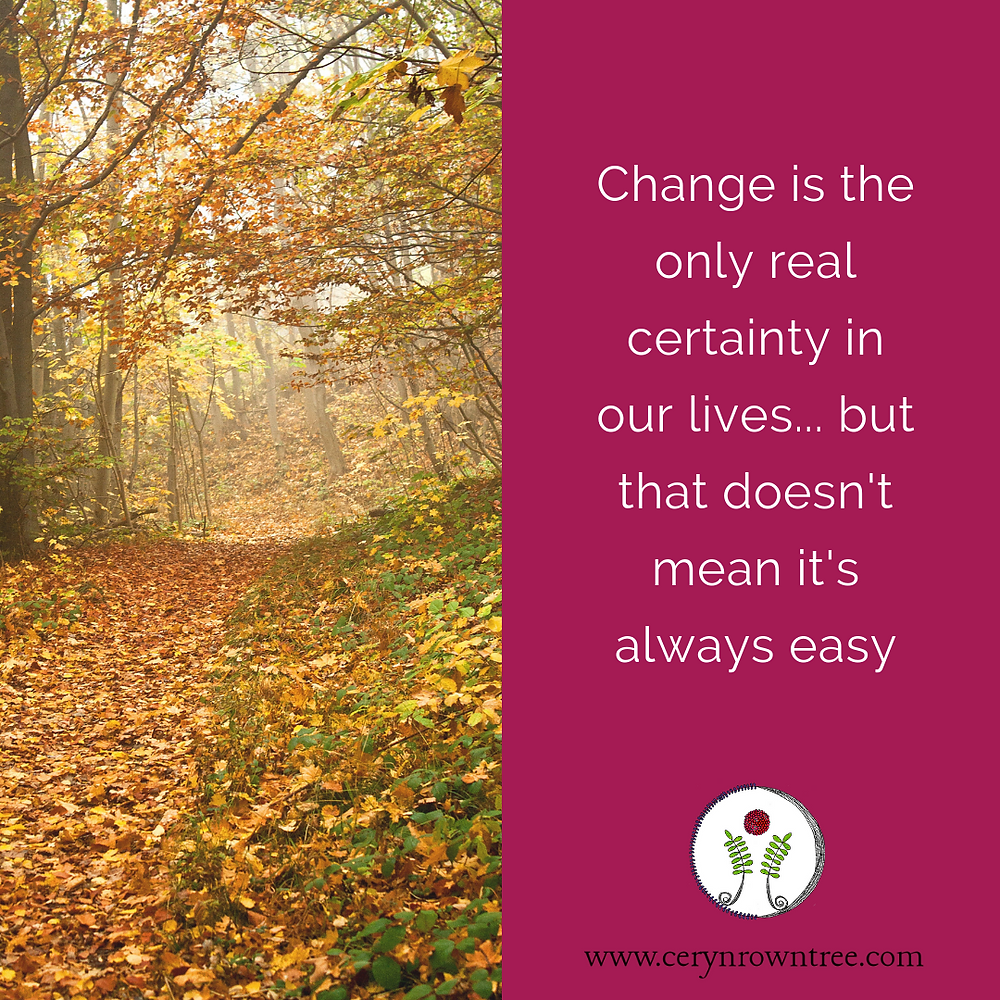 Change is the only real certainty in our lives... but that doesn't mean it's always easy. White text on pink background with logo of Ceryn Rowntree, Soul-Centered Counsellor. The other half of the page is an image of a colourful woodland in Autumn, sourtest of Vanessa von Wieding on Unsplash