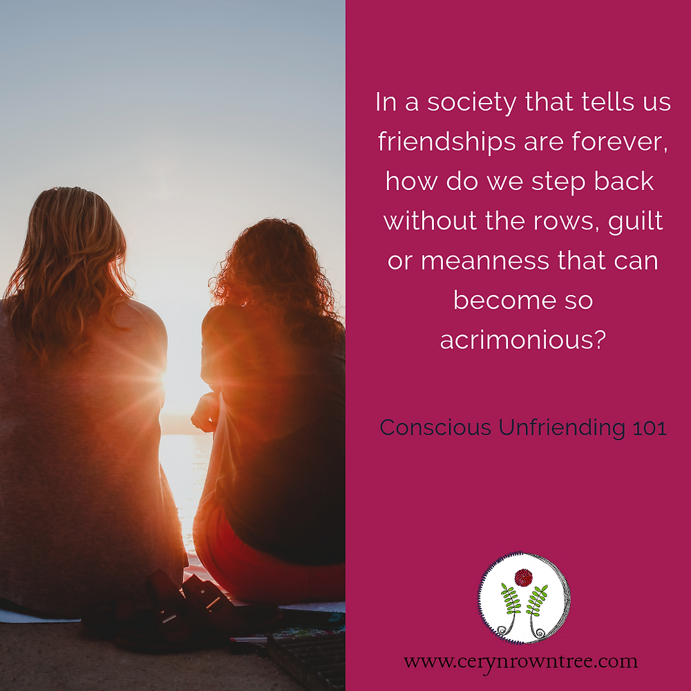 "A square image divided in half vertically. To the left is an image of two female figures with sitting alongside one another with their backs to the camera and faces towards the sunset. Photo is courtesy of Briana Tozour on Unsplash. To the right is a bright pink block which features the words ""in a society that tells us friendships are forever, how do we step back without the rows, guilt or meanness that can become so acrimonious?"" in white, followed by the words ""Conscious Unfriending 101"" in dark blue and the logo and web address for Ceryn Rowntree."