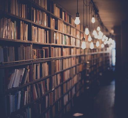 Photograph of multiple shelves of books in a dimly lit corridor. Photo is by  Janko Ferlič via Unsplash