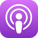 The logo for Apple podcasts.