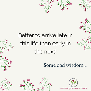 """A cream square surrounded by green and pink flowers and the logo and web address for www.cerynrowntree.com. In the centre is the text: """"Better to arrive late in this life than early in the next! Some dad wisdom...."""""""