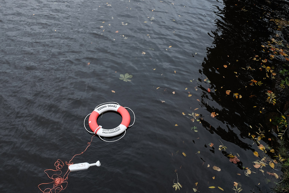 Photograph of a life ring floating in an outdoor body of water. Photo byLukas JuhasonUnsplash