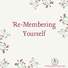 "A cream square with flowers and text which reads ""re-membering yourself"" from Ceryn Rowntree."