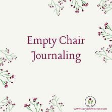 "A cream square with flowers and text which reads ""empty chair journaling"" from Ceryn Rowntree."
