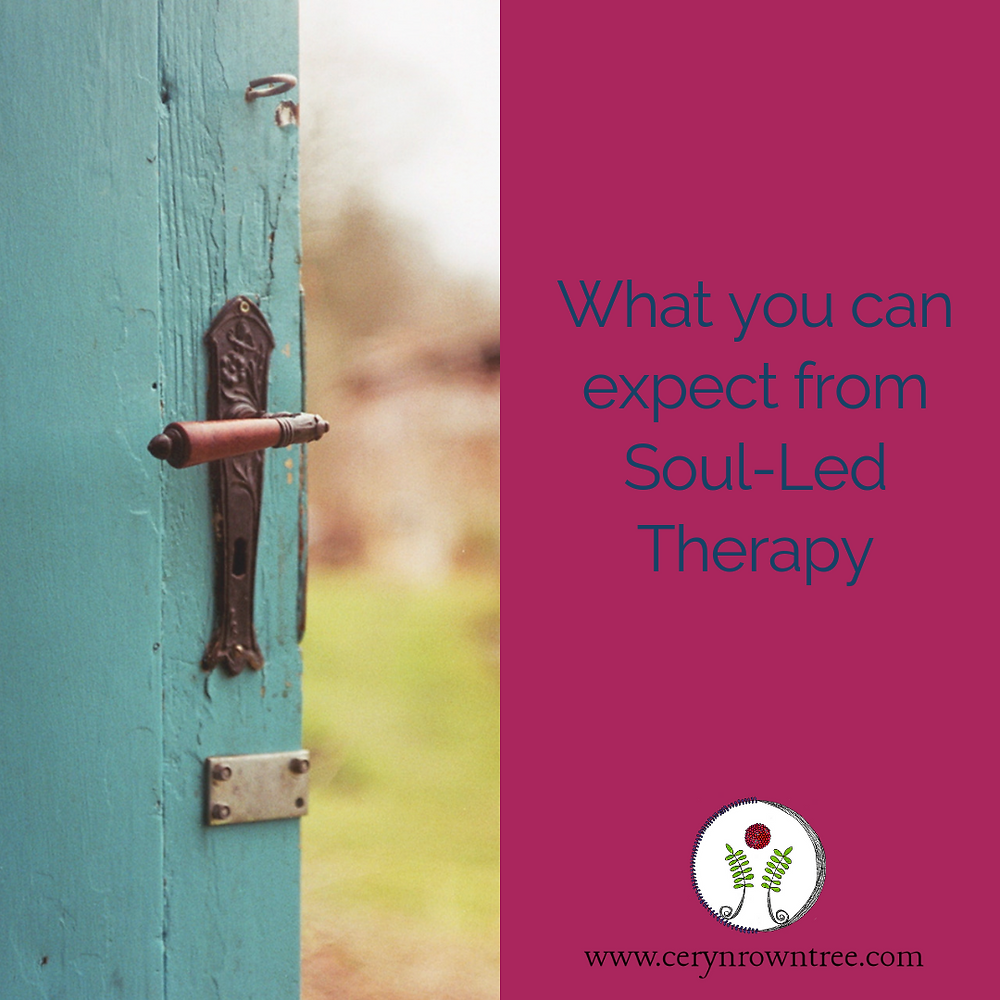 "Square image split in half vertically. To the left is an image of an old wooden door painted blue and opening out onto a grassy outdoor space (image courtesy of Jan Tinneberg on Unsplash). To the right is a pink box including the words ""what you can expect from Soul-Led Therapy"" in blue, and the web address and logo for www.cerynrowntree.com."