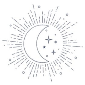 Line drawing of a moon and stars within what appears to be a beaming Sun.