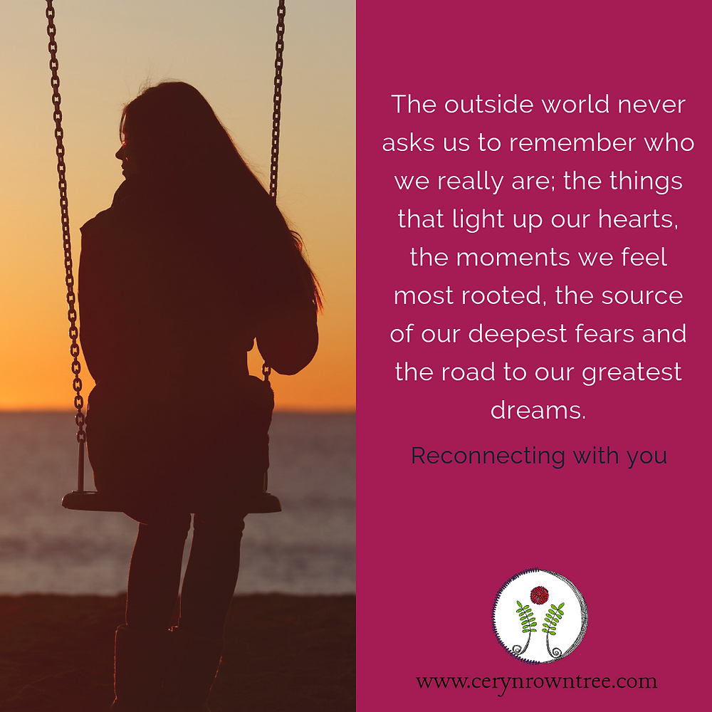 "Square image split in half vertically. To the left is an image of a silhouetted woman sitting on a swing facing away from the camera with a sunset over the water in front her. To the right is a bright pink box including the text ""The outside world never asks us to remember who we really are; the things that light up our hearts, the moments we feel most rooted, the source of our deepest fears and the road to our greatest dreams."" in white, followed by ""Reconnecting with you"" in dark blue. Beneath them is the logo and web address for Ceryn Rowntree."
