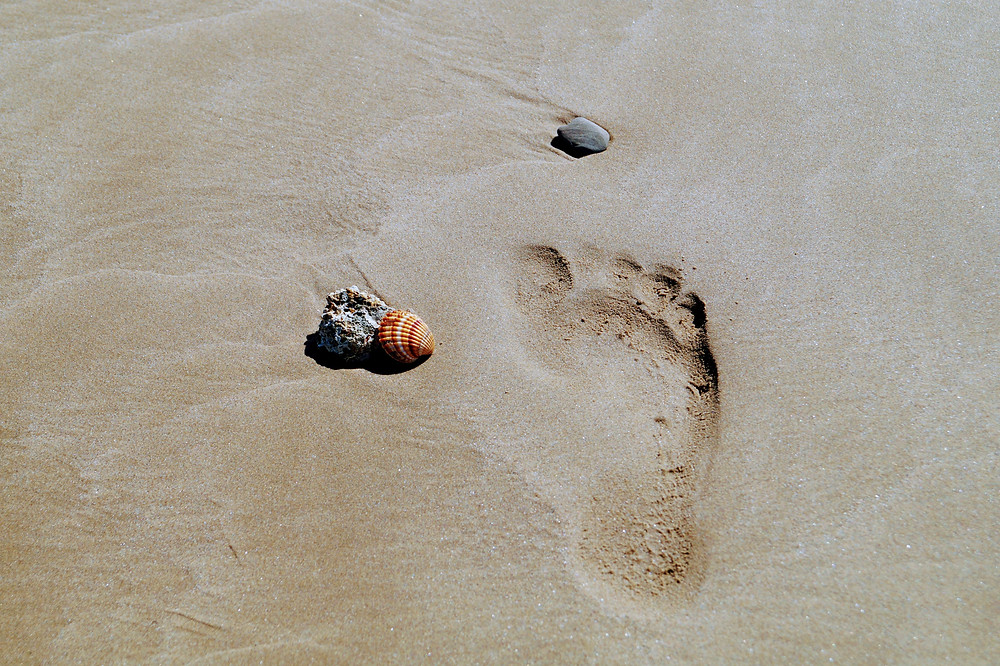 Photograph of a human footprint in the sand, with a small stone to the front of it and a second stone and a shell to the inside. Photo is courtesy of Pascal Müller on Unsplash.