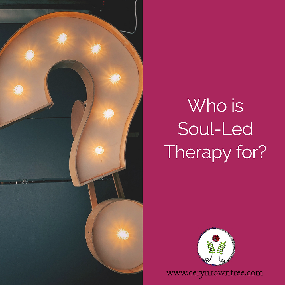 """A square image is split into two vertically; to the right is a photograph of a white illuminated question mark (photo courtesy of Jon Tyson via Unsplash). To the right a bright pink box containing the words """"Who is Soul-Led Therapy for?"""" in white, and the logo and web address for www.cerynrowntree.com."""