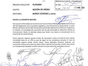 Ministro Salas a rendir cuentas según moción aprobada y presentada por el Diputado Walter Muñoz.