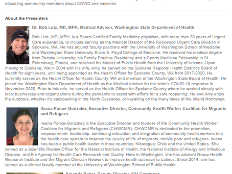 CHWCMR invites you to register to an incoming COVID-19 Vaccine' s course from WA Nonprofits.