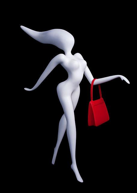 Sculpture en résine sac à main