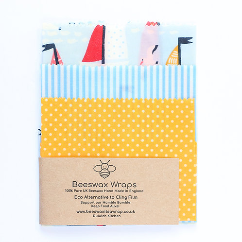 3 Mixed Sizes Beeswax Wraps - Boat Mixed