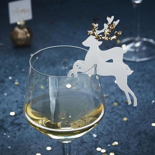 GOLD GLITTER REINDEER WINE GLASS CHRISTMAS DECORATION