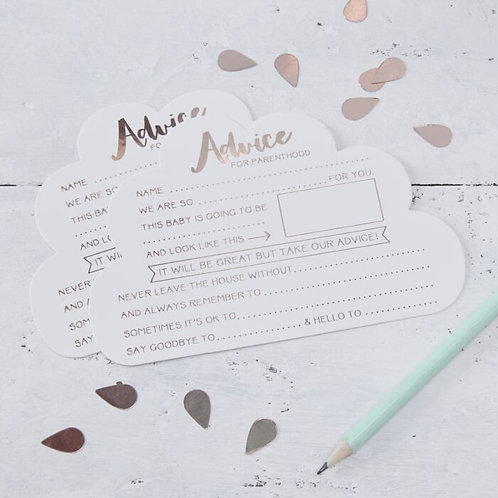 ROSE GOLD BABY SHOWER ADVICE CARDS