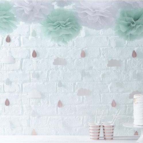 ROSE GOLD RAINDROPS AND CLOUDS BABY SHOWER DECORATION