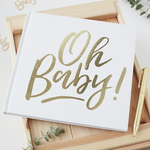 GOLD OH BABY! SHOWER GUEST BOOK