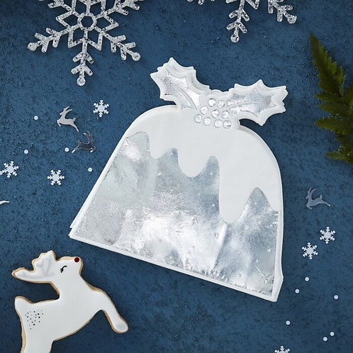 SILVER FOILED CHRISTMAS PUDDING PAPER NAPKIN