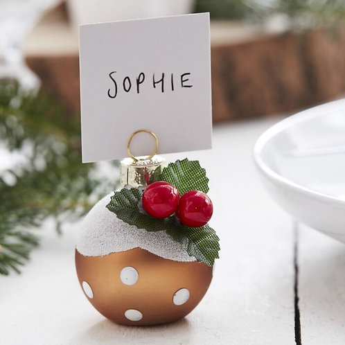 CHRISTMAS PUDDING CHRISTMAS BAUBLE PLACE CARD HOLDERS